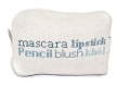 Hand Embroidered Linen and Cotton 'Mascara lipstick' Make-Up Bag (Blue) - Malulu Ltd