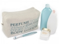 Hand Embroidered Linen and Cotton 'Perfume Soap' Wash Bag (Blue) - Malulu Ltd